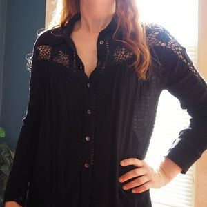 Free People Black Long Sleeve Lace Blouse